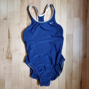Nike Navy Powerback One Piece Swimsuit SZ 14